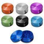 Black Leaf - CNC Aluminium Grinder anodisiert - 2-tlg. Ø 40 mm – 10 Farben