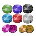 Black Leaf - CNC Aluminium Grinder anodisiert - 2-tlg. Ø 50 mm – 11 Farben