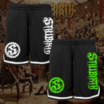 Stillbirth - Mesh Shorts mit Streifen - Logo in weiß und grün - Größe S - 3XL
