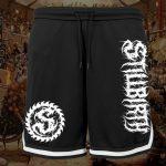 Stillbirth - Mesh Shorts mit Streifen - Logo weiß - Größe S - 3XL